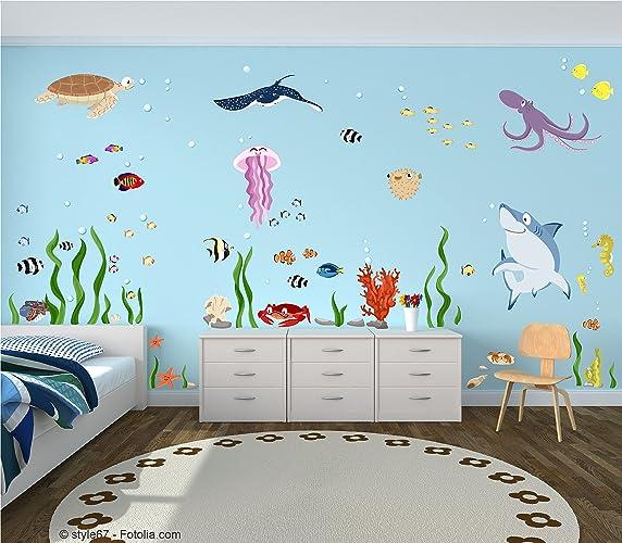 Wandtattoo Set U0026quot;Ozeanu0026quot; Unterwasserwelt Ozean Meerestiere Fische  Wandsticker Für Kinderzimmer