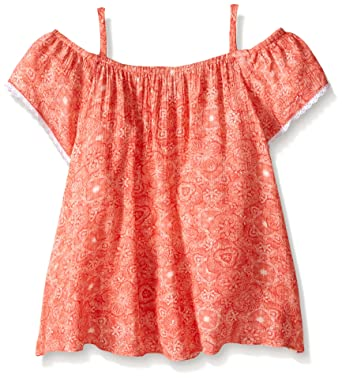 Lucky Brand Big Girls Parker Smocked Top Sugar Coral Small Amazon