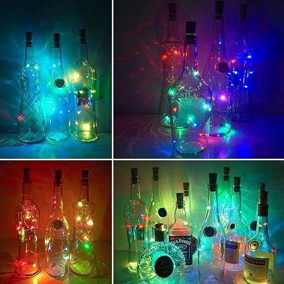 1* String Lights Silver LED Wine Bottle Lights Battery Cork Powered Decor O0F1