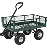 Best Choice Products Utility Cart Wagon Lawn Wheelbarrow Steel Trailer 660lbs