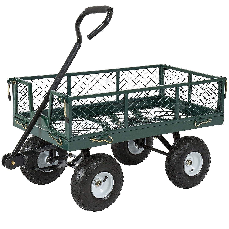 Best Choice Products 400lb Steel Garden Wagon Lawn Utility Cart Wheelbarrow w/Handle - Green