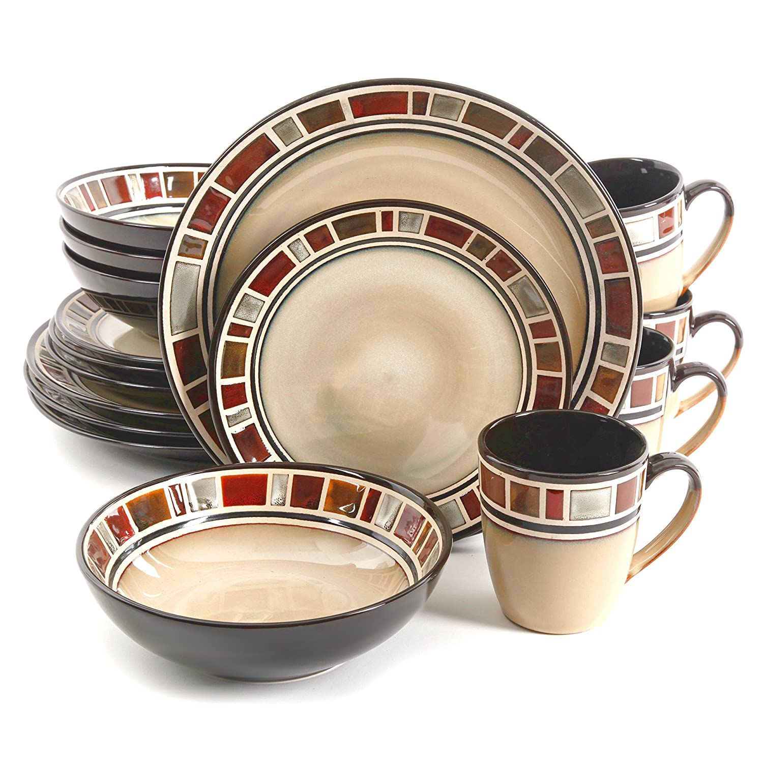 Amazon.com | Gibson Elite Cimarron 16pc Dinnerware Set - service for 4 - includes 4 dinner plates - 4 dessert plates - 4 cereal bowls - 4 mugs Dinnerware ...  sc 1 st  Amazon.com & Amazon.com | Gibson Elite Cimarron 16pc Dinnerware Set - service for ...