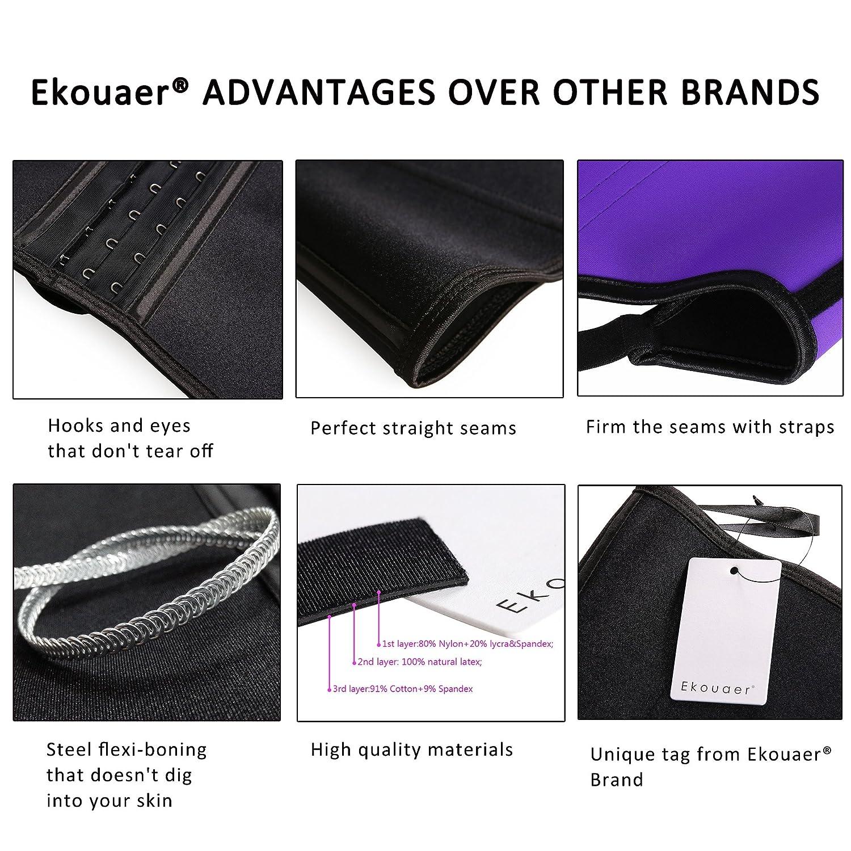 08fc8b635ff Ekouaer Women s Latex waist training vest Plus Size Long Torso(Adjustable  Strap-black