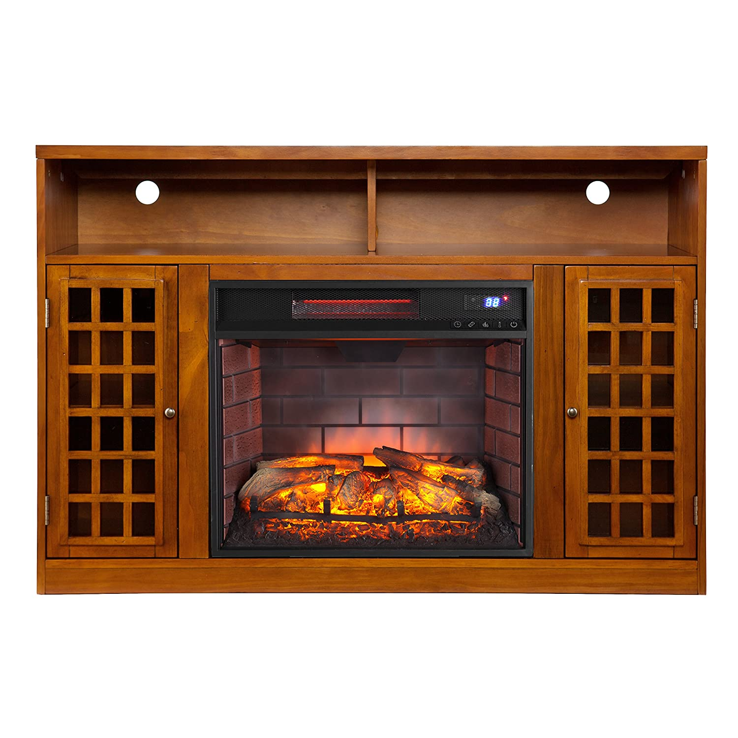 Southern Enterprises Narita Media Infrared Electric Fireplace, Glazed Pine Finish