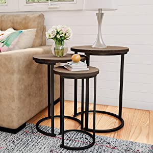 Lavish Home Round Nesting Set of 3, Modern Woodgrain Look with Black Base for Living Room Coffee Tables or Nightstands-Accent Home Furniture
