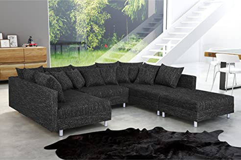 Sofa für küche  Wohnlandschaft Sofa Couch Ecksofa Eckcouch in Gewebestoff schwarz ...
