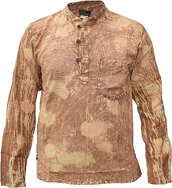 Gheri Algodón Dorado Ácido Lavado Abuelo Casual Largo Manga Camisa Tops Kurtas: Amazon.es: Ropa y accesorios