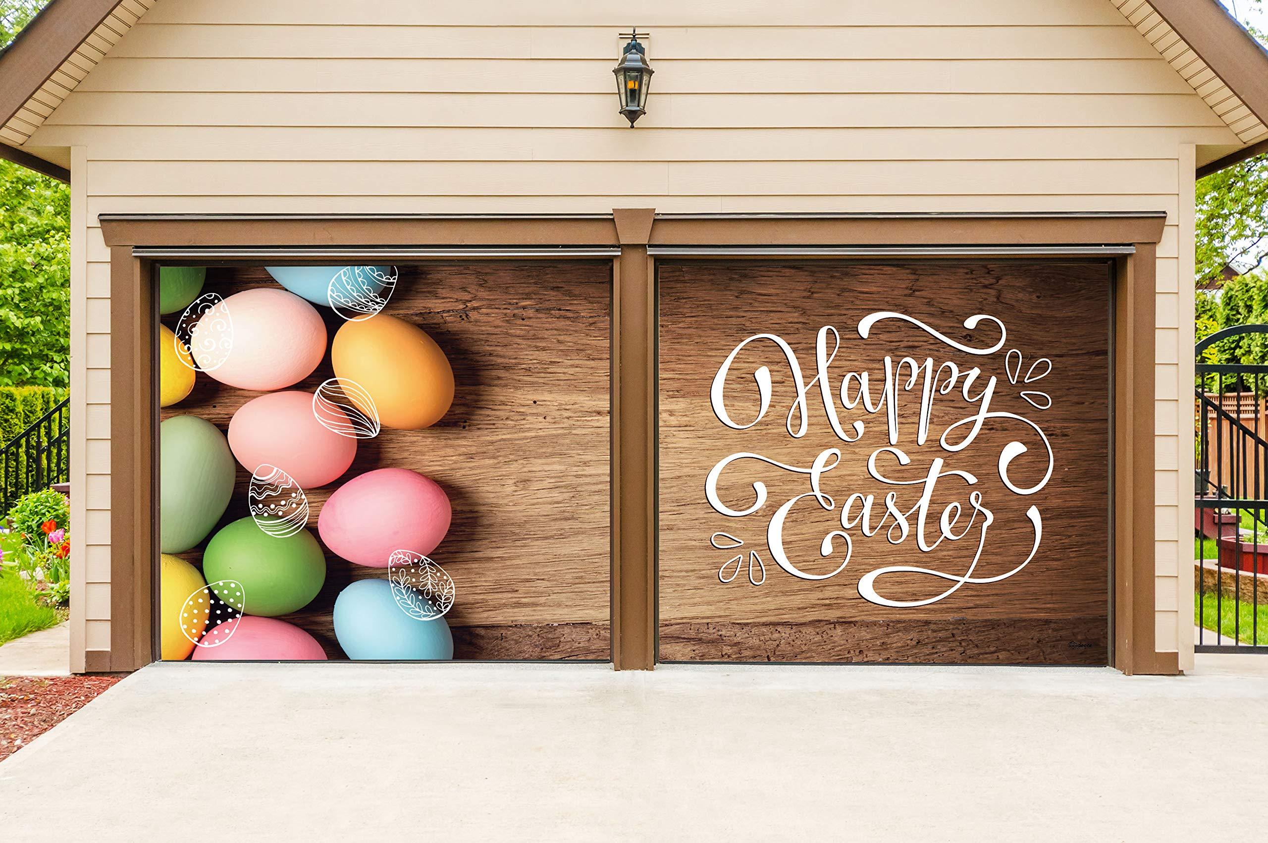 Victory Corps Happy Easter Eggs - Holiday Garage Door Banner Mural Sign Décor 7'x 8' Split Car Garage - The Original Holiday Garage Door Banner Decor