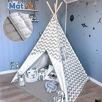 Teepee Tent para niños con colchoneta Acolchada - Tienda de campaña para niños y niñas de Interior y Exterior, Gris Chevron Heavy Cotton Canvas Teepee: Amazon.es: Juguetes y juegos