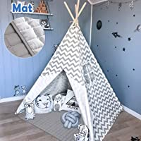 Tiny Land Teepee Tent for Kids with Mat- Play Tent for Boy Girl Indoor & Outdoor, Gray Chevron Heavy Cotton Canvas Teepee