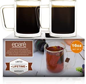 16 oz Glass Coffee Mugs - Set of 2 - Clear Double Wall Glasses - Insulated Glassware With Handle - Large Espresso Latte Cappuccino or Tea Cup by Eparé