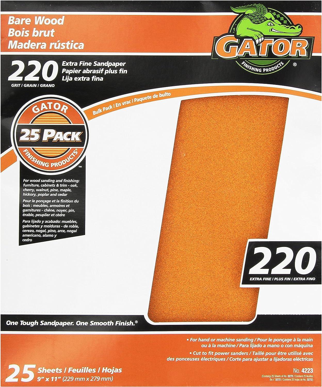 150 100 Gator Stick-On Palm Sander 1//4 Sheets 20 Sheets Total 60 220 Grit