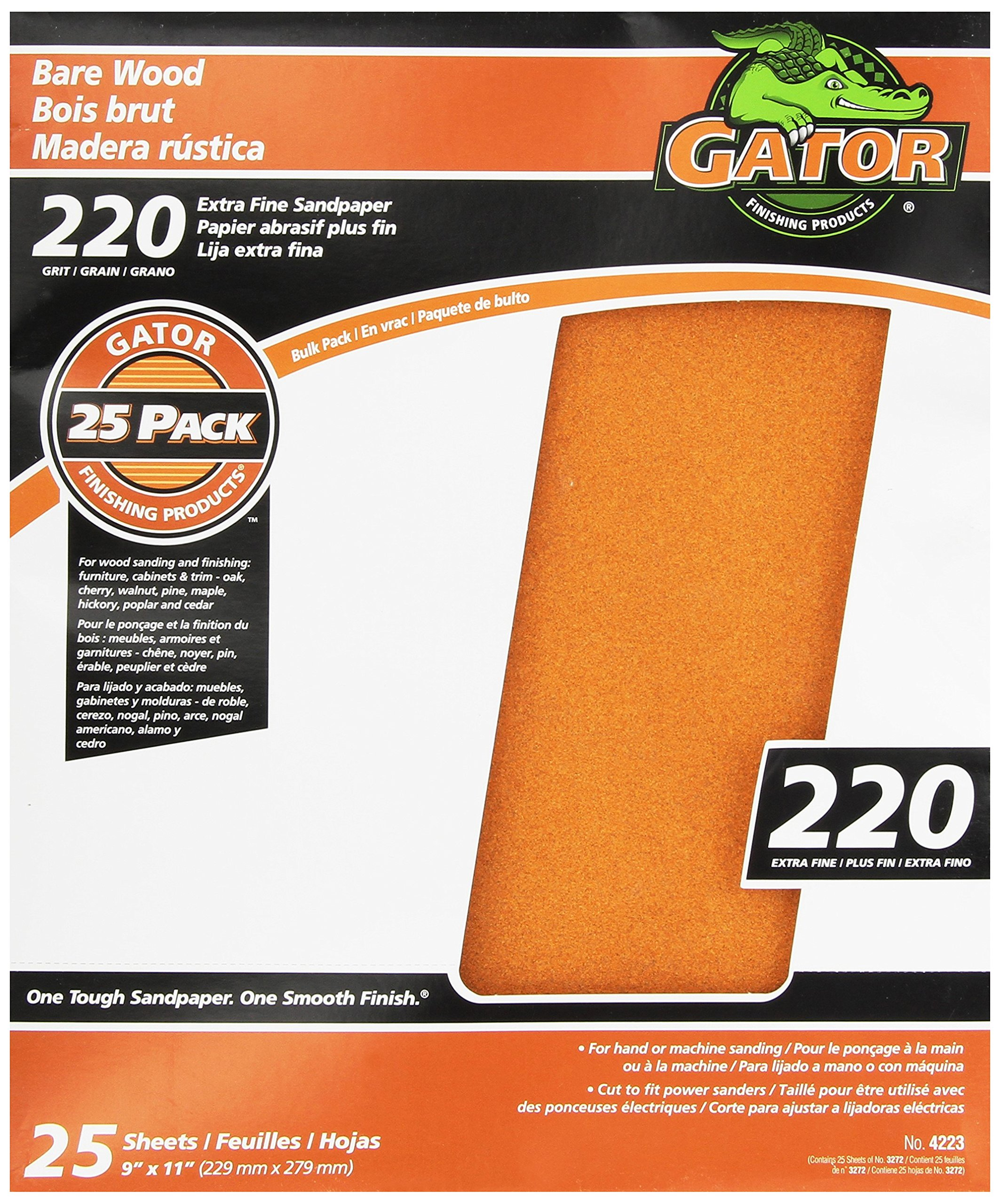 Gator Finishing 4223 220 Grit Bare Wood Sanding Sheets (25 pack), 9'' x 11''