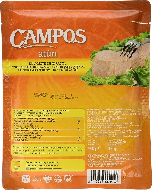 CAMPOS Conserva de atún en aceite de girasol, pouch/ bolsa de 500 gr