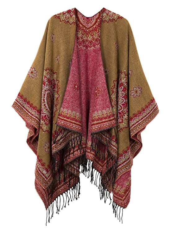 Victorian Clothing, Costumes & 1800s Fashion Womens Fashionable Retro Style Vintage Pattern Tassel Poncho Shawl Cape $23.80 AT vintagedancer.com