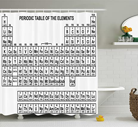 Amazon periodic table shower curtain by ambesonne monochrome periodic table shower curtain by ambesonne monochrome simple science chemistry elements for students class image urtaz Image collections