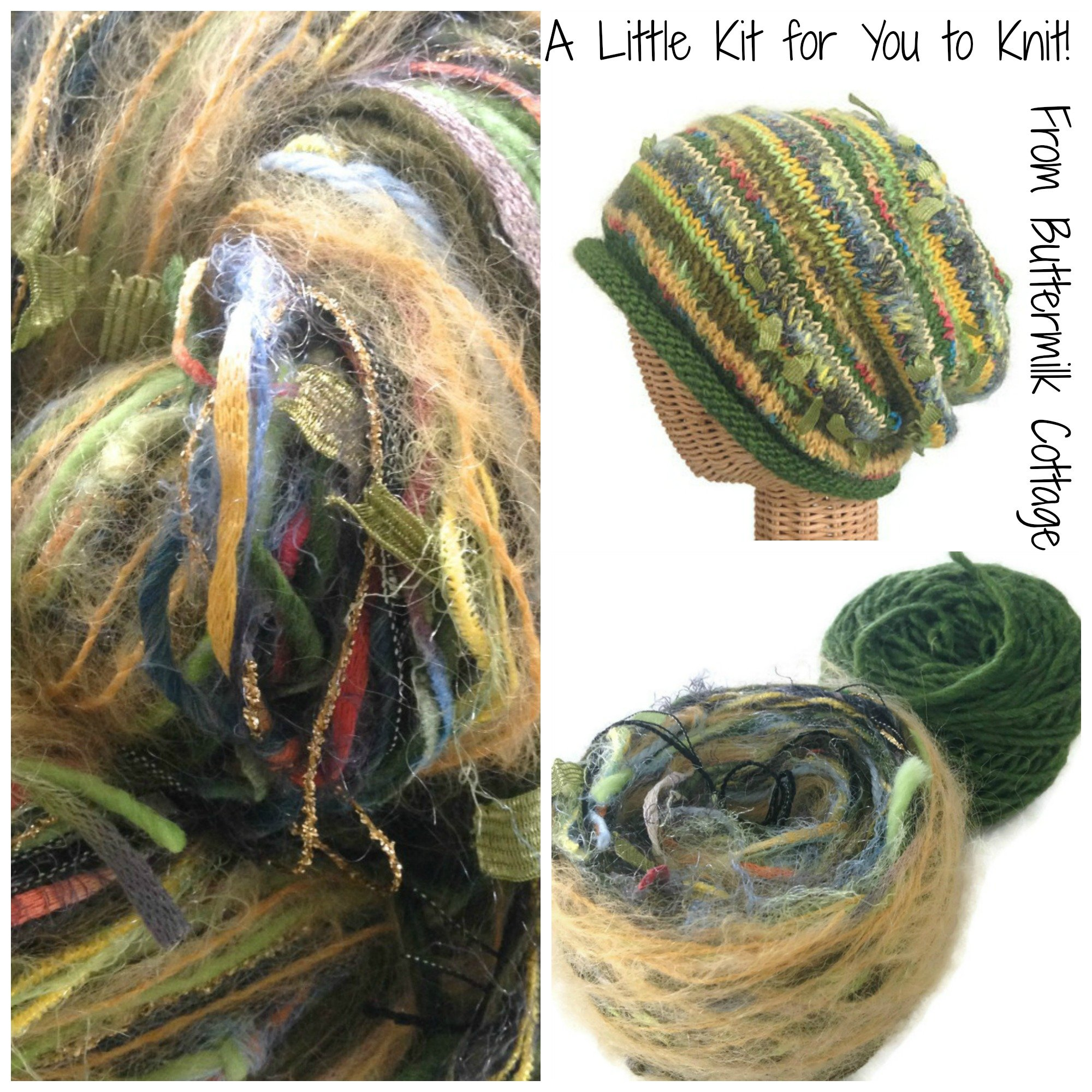 Boutique Yarn Slouchy Hat Knitting Kit Green