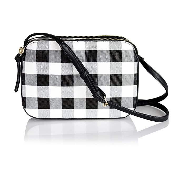 Summer Gingham Plaid Vegan Leather Crossbody Bag- Swing Purse with Adjustable Long Strap (Black and White Gingham Plaid Check)
