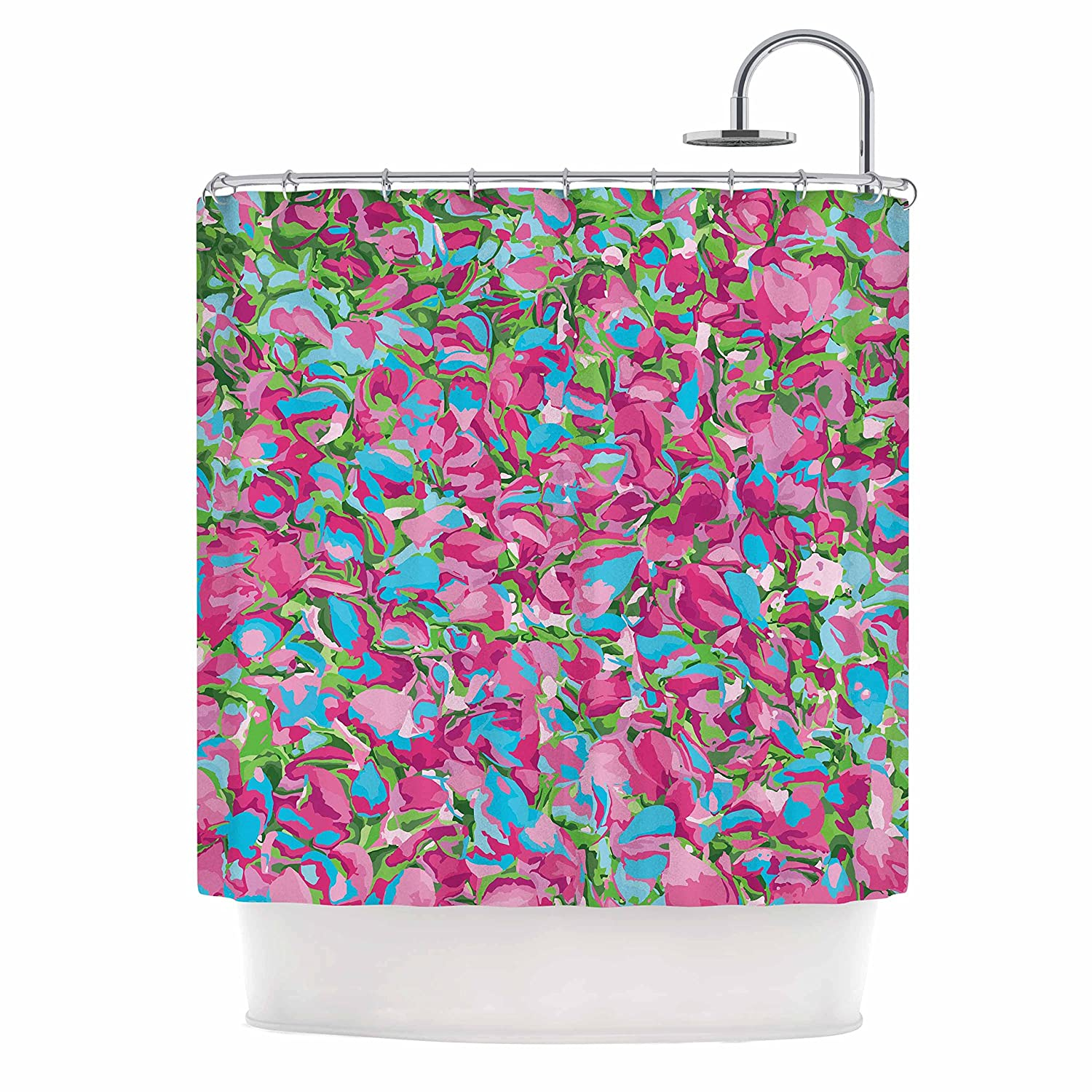 69 x 70 Shower Curtain Kess InHouse Empire Ruhl Abstract Spring Petals Pink Teal