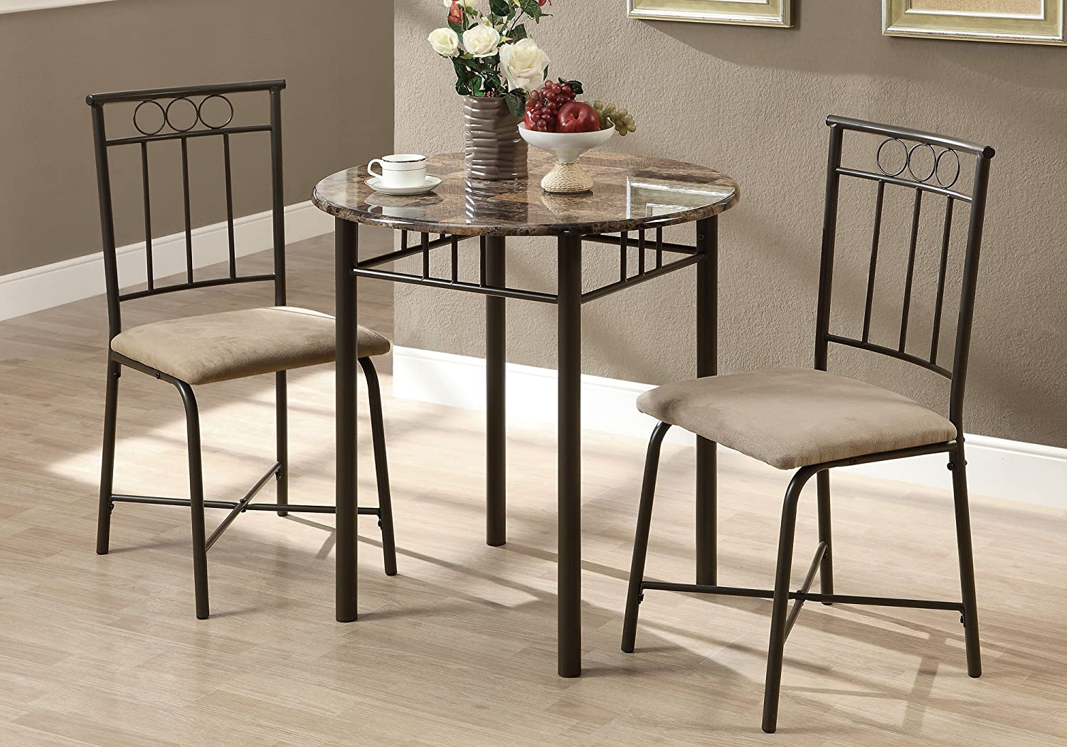 Monarch Specialties I 3045 Bronze Metal and Cappuccino Marble Bistro Dining Set, 3-Piece