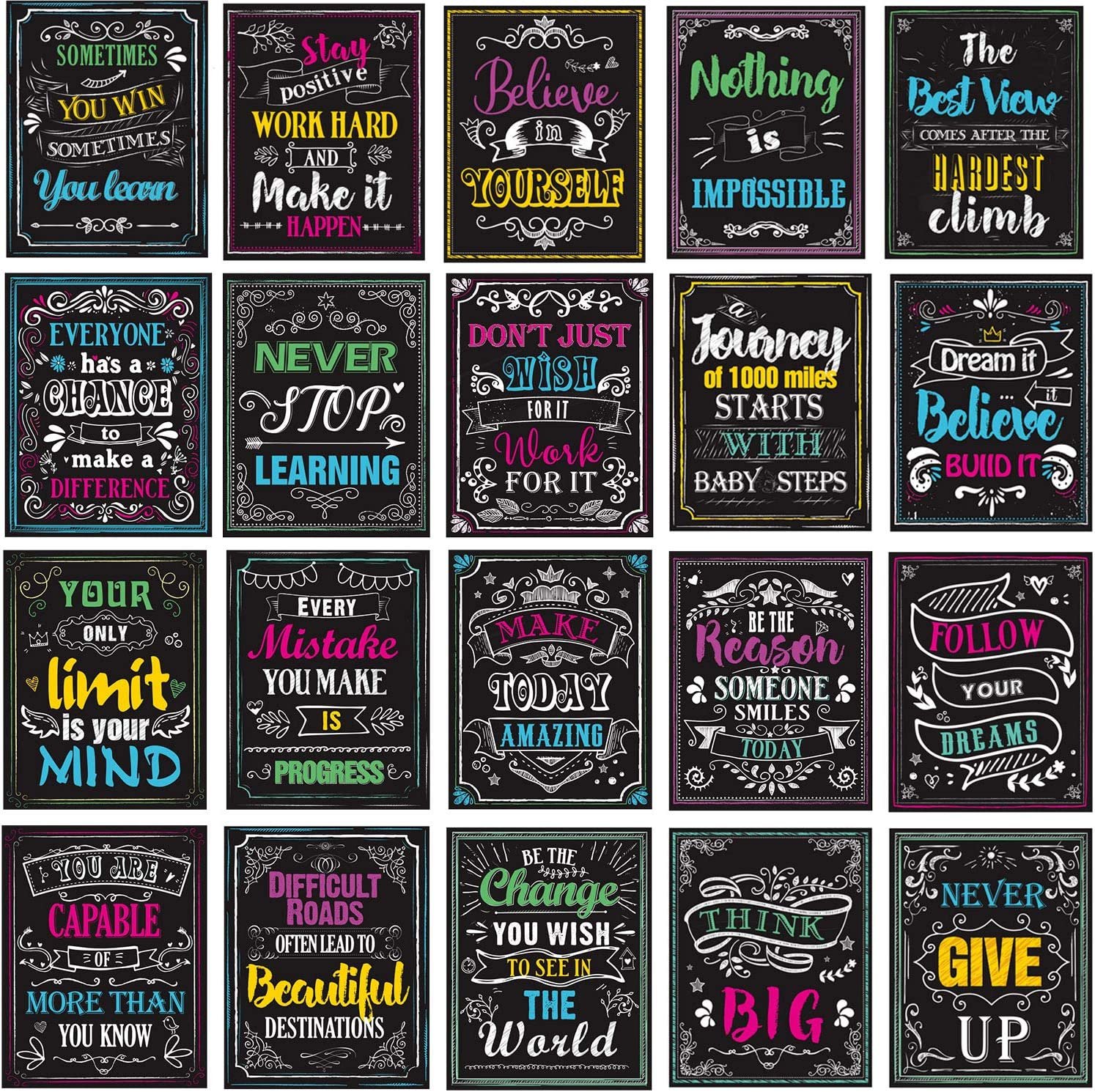 Motivational Posters for Classroom, Inspirational Quotes Posters Wall Art for Students Teachers Classroom & Home Decorations 12 x 14 Inches 20 Pack (Style1+Style 2)
