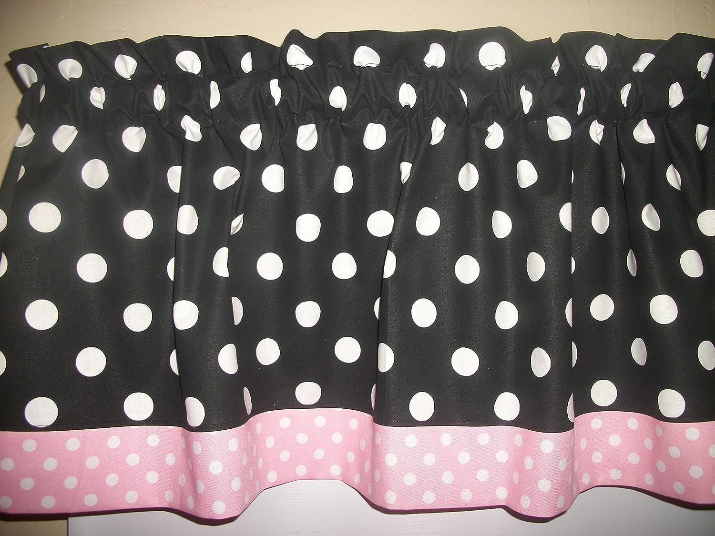 Black Light Pink Dot hello kitty minnie mouse retro kitchen curtain Valance