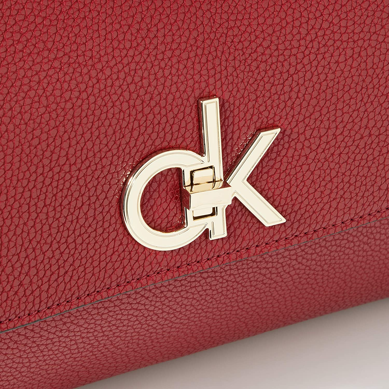 Calvin Klein Women's Re-lock Top Handle Satchel Cross-Body Bag Red (Barn Red)