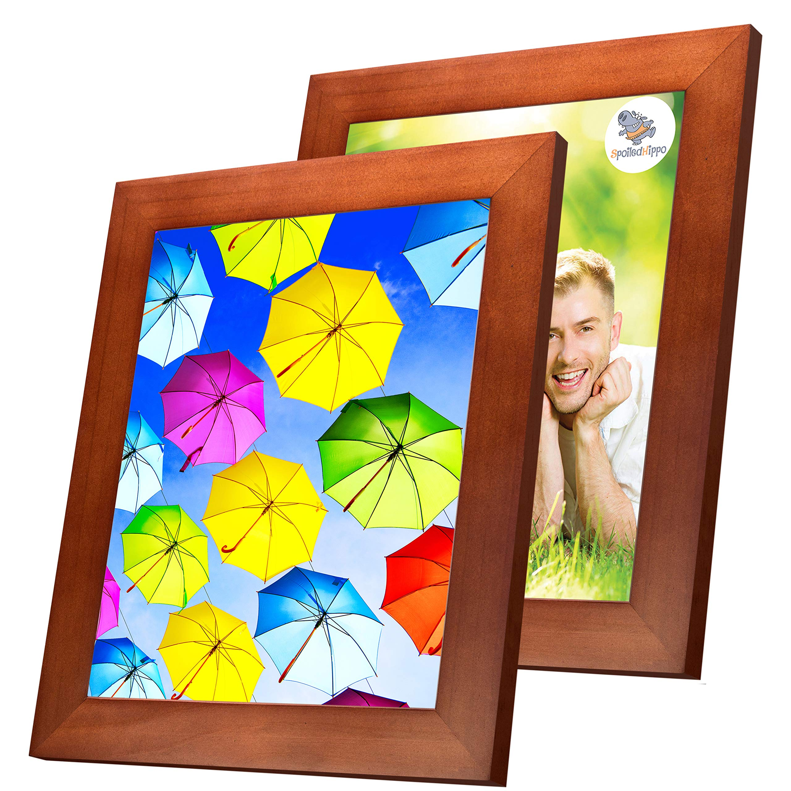 SpoiledHippo 8x10 Picture Frame Brown with Mat (2 Pack) - Solid Wood Photo Frames with Glass - Wall Frame for 8 by 10 Inch Photos or Standing Table Top or Desk for Poster Collage Diploma Certificate by SpoiledHippo