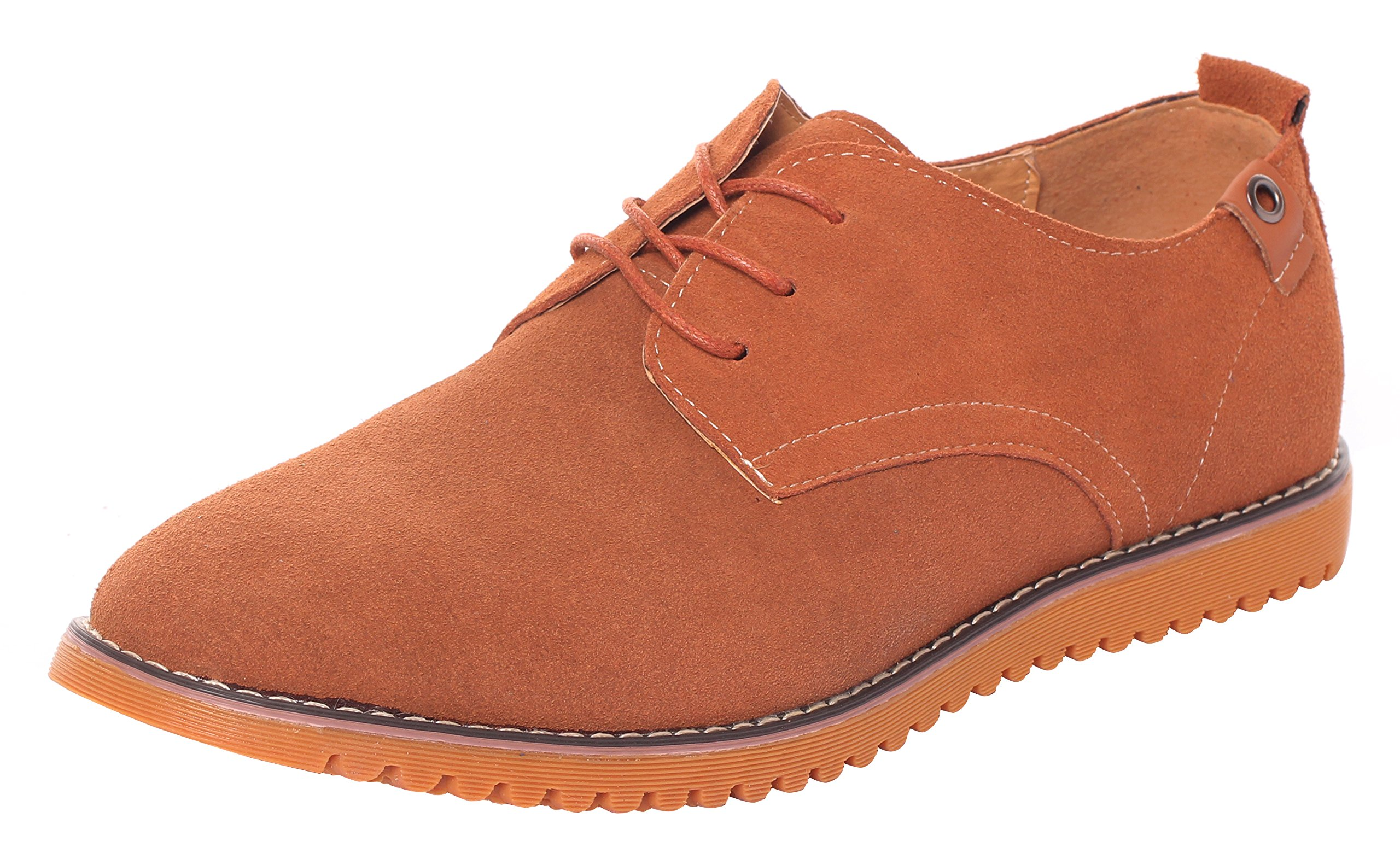Runday Men's Fashion Suede Leather Shoes Round Toe Lace Up Casual Oxfords(9 D(M)US,tan) (9 D(M) US, Tan)