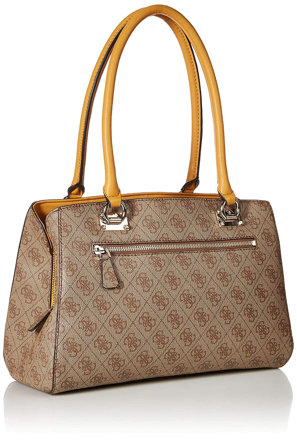907e26f3c79 Amazon.com: GUESS Kathryn Girlfriend Satchel, Brown/Multi, One Size:  Clothing