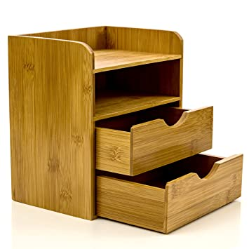 Intriom Bamboo  Tier Mini Desk Organizer Storage With Drawers     In