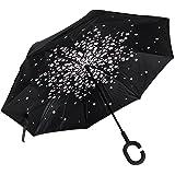 ALINK Inverted Umbrella, Reverse Folding Double Layer Inside Out Outdoor Rain Away Car Umbrella - Water Village