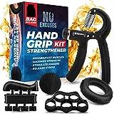 Grip Strength Trainer Kit (5 Piece Set), Adjustable Hand Grip Exerciser Strengthener, Hand Strengthener, Forearm Strengthener