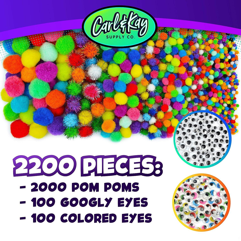 Assorted Pom Poms Craft Set Carl /& Kay Big Pompoms for Crafts 2200 pcs Mega Assorted Size Pom Poms with Googly Eyes Craft Pom Poms Assorted Sizes Bulk Jumbo Pom Poms with Wiggly Eyes