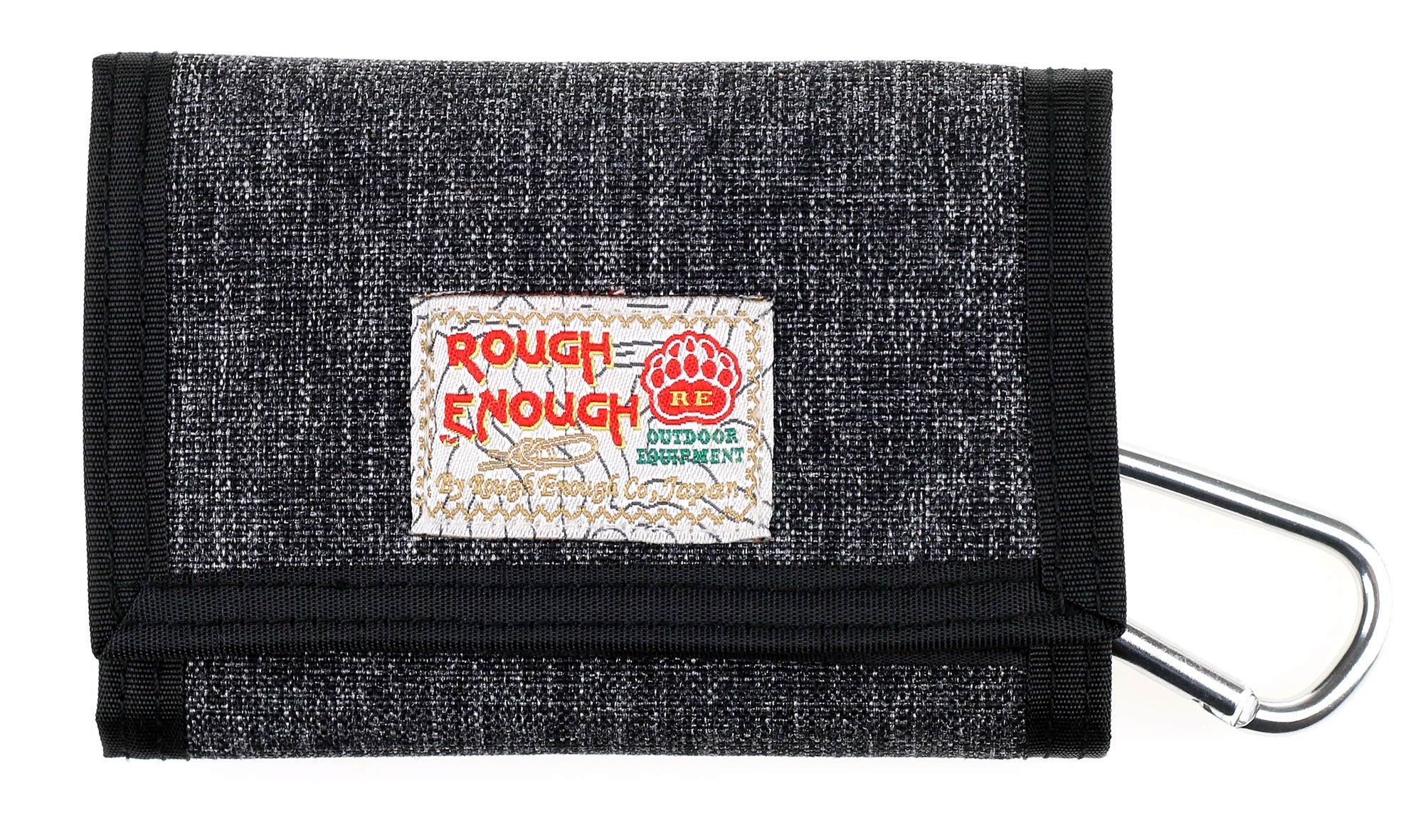 ROUGH ENOUGH Premium Cotton Stone Washed Classic Basics Stylish Fancy Mini Portable Trifold Coin Wallet Purse Holder Organizer Case with Zippers for KidsBoy Men Sports Outdoors Travel Black