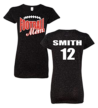 2f65f027462 Football Mom Glitter Tee with Custom Player Name, Number & Glitter Color at  Amazon Women's Clothing store: