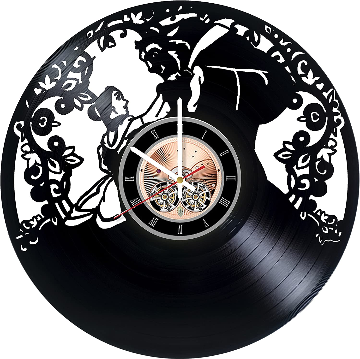 Beauty and The Beast Love Vinyl Record Wall Clock - Kids Room Wall Decor - Gift Ideas for Children, Teens, sster -Fantasy Story Unique Art Design