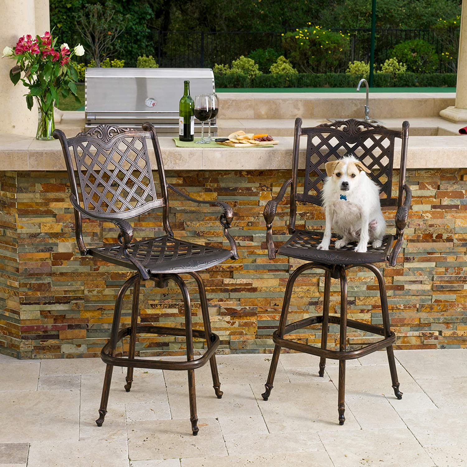 Christopher Knight Home Pomelo Outdoor Cast Aluminum Bar Stools Set of 2 , Shiny Copper