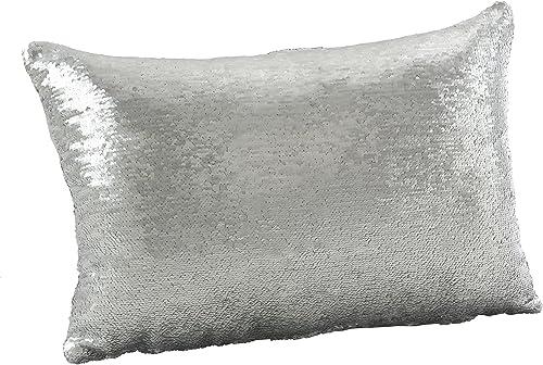SARO LIFESTYLE Sirun Collection Sequin Mermaid Design Down Filled Throw Pillow, 16 x 24 , White