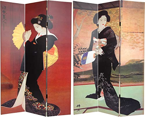 Oriental Furniture 6 ft. Tall Double Sided Japanese Ladies Canvas Room Divider