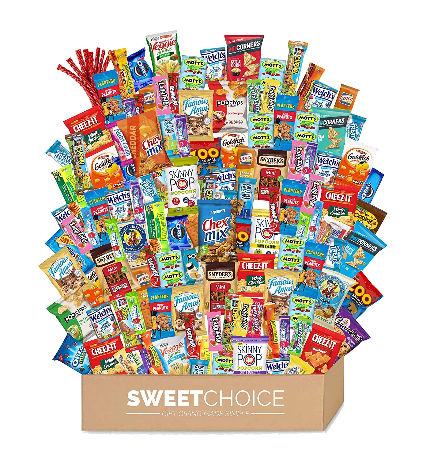 Care Package (120 Count) Variety Snacks Gift Box - College Students, Military, Work or Home - Chips Cookies & Candy! Sweet Choice