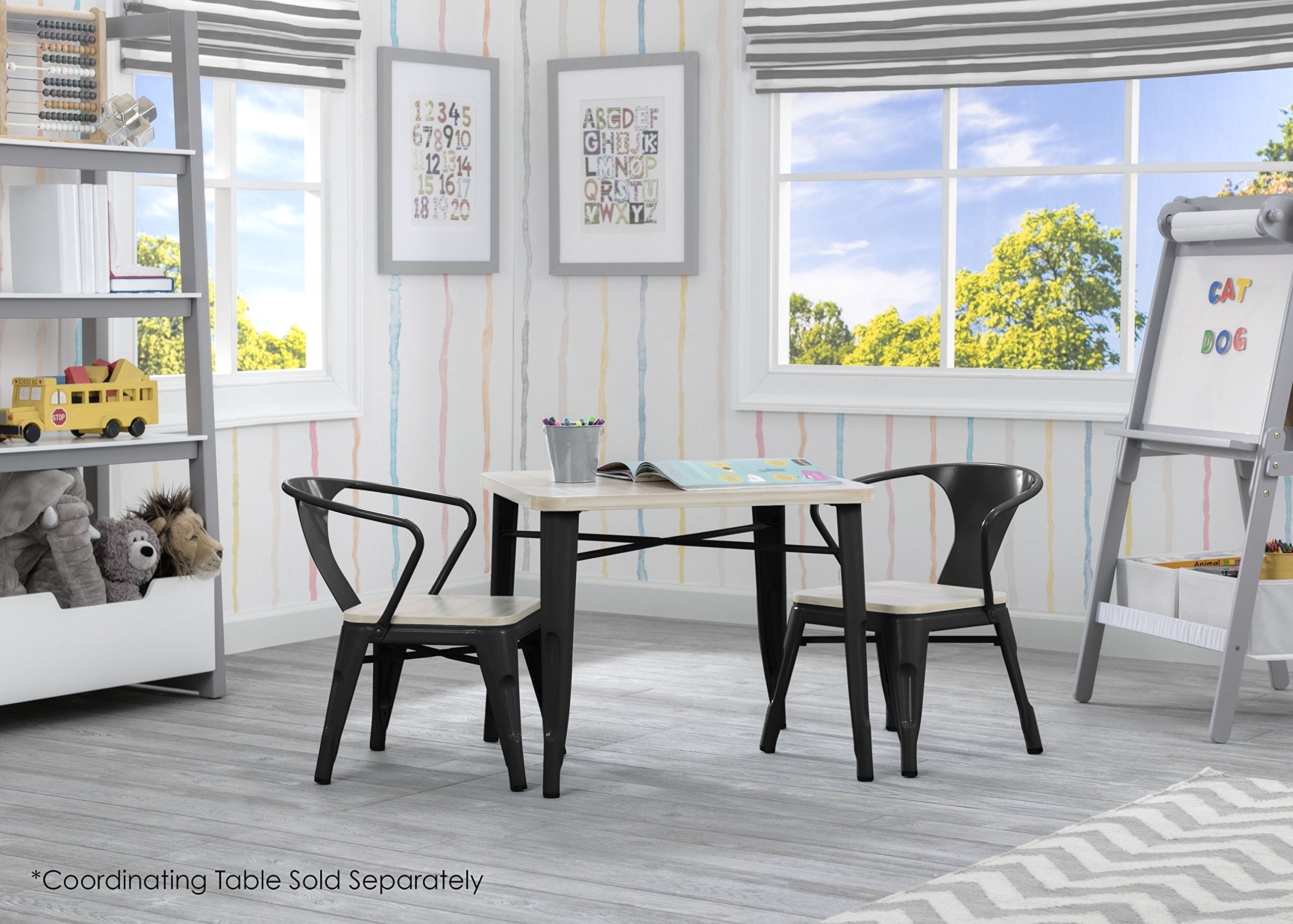 Delta Children Bistro 2-Piece Chair Set, Black with Driftwood by Delta Children (Image #3)