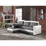Bestmobilier Portland - Canapé D'angle Réversible Convertible - 225x145x85cm Couleur - Blanc/Gris