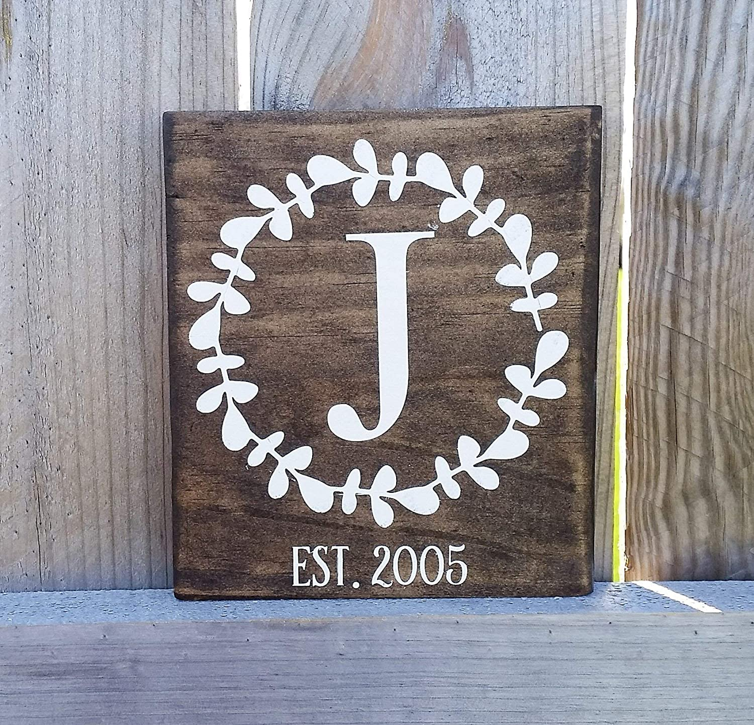 Amazon Com Monogram Wood Sign Established Date Sign Wedding Gift Bridal Shower Gift Gift For Mom Gift For Her Stained Sign Handmade