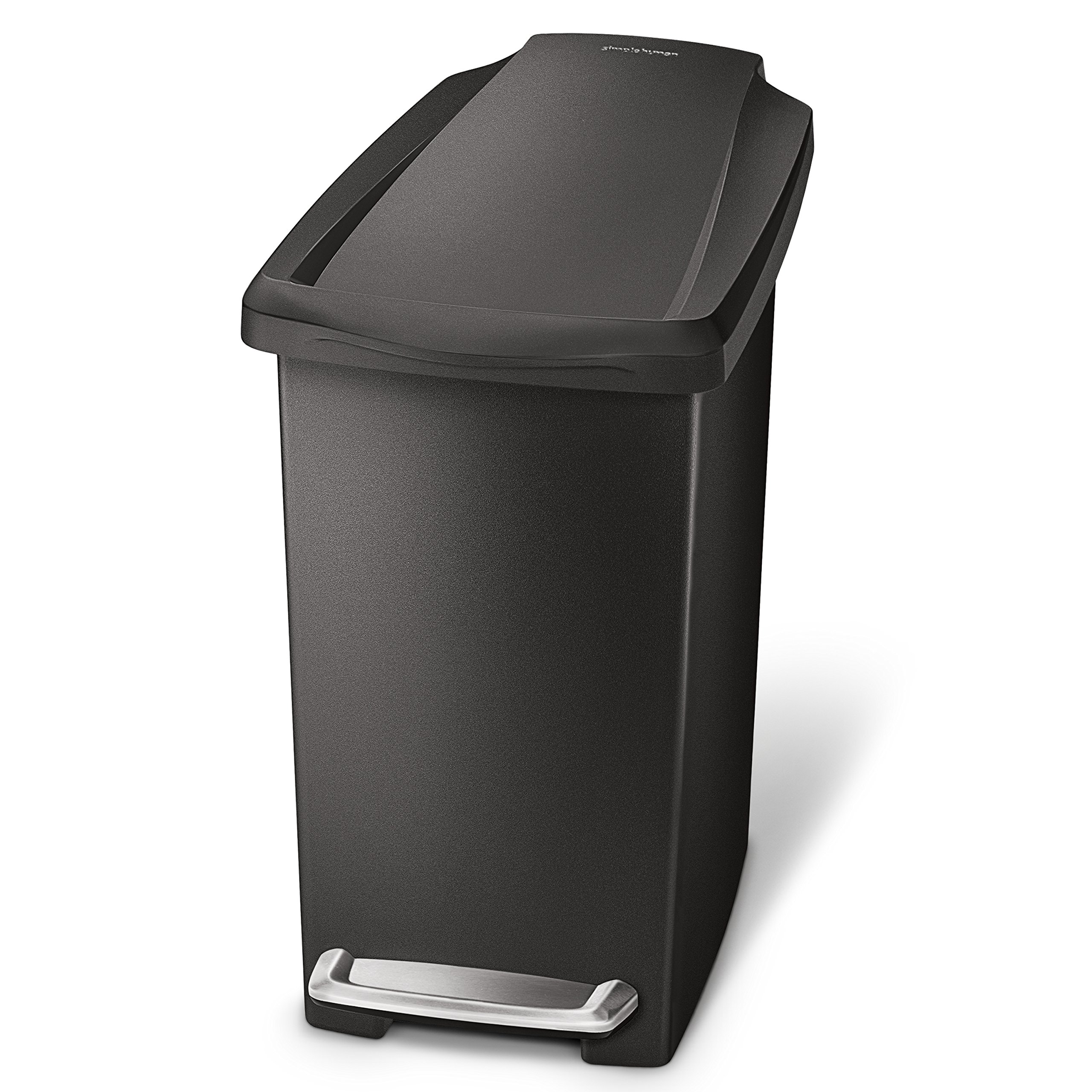 simplehuman 10 Liter/2.6 Gallon Compact Slim Bathroom or Office Step Trash Can, Black Plastic