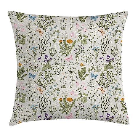Funda de cojín con diseño floral, diseño vintage de plantas ...