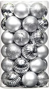 "Jusdreen 41pcs Christmas Balls Ornaments for Xmas Tree Shatterproof Christmas Tree Hanging Balls Decoration for Holiday Party Baubles Set with Hang Rope 1.57""(Silver 40mm)"