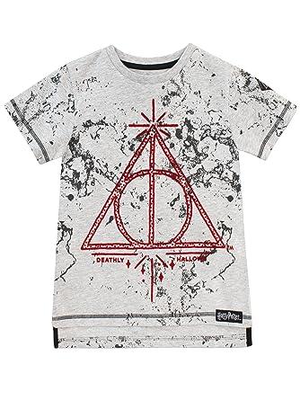 f01d91d9d Amazon.com: HARRY POTTER Boys' Deathly Hallows T-Shirt: Clothing