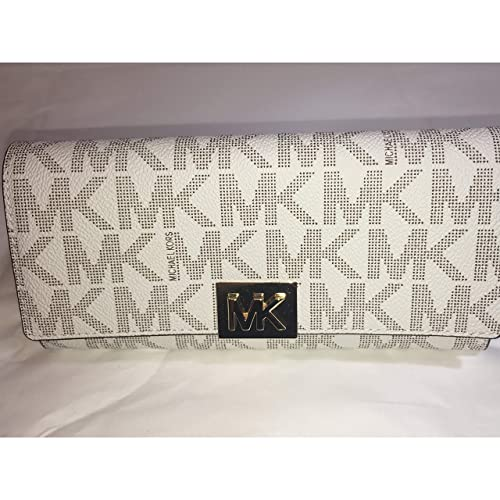 d77074867374 Image Unavailable. Image not available for. Color: Michael Kors Mindy  Carryall PVC Flap Wallet Clutch Vanilla