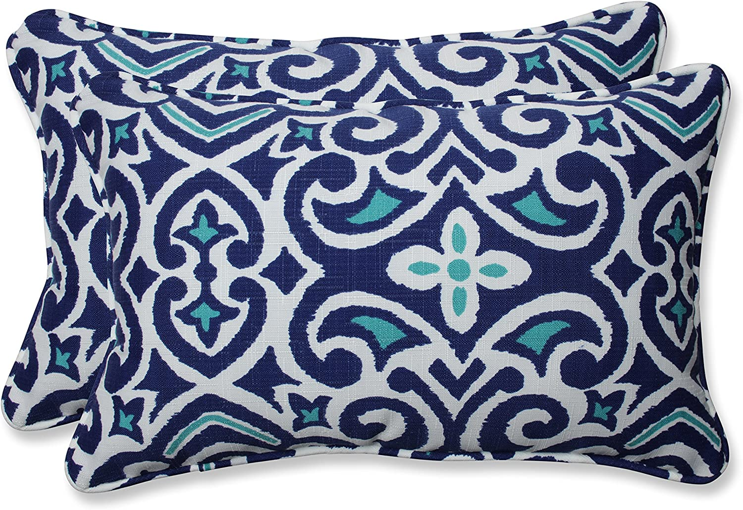 "Pillow Perfect Outdoor/Indoor New Damask Marine Lumbar Pillows, 11.5"" x 18.5"", Blue, 2 Count"